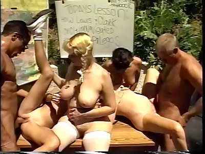 Sex orgy with mature skanks and studs fucking outdoors