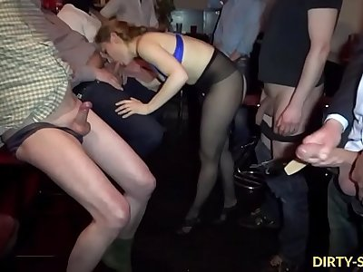 Busy amateur slut gangbanged by plenty of men
