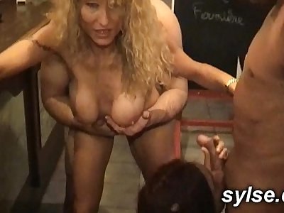 MILF and young boy in train